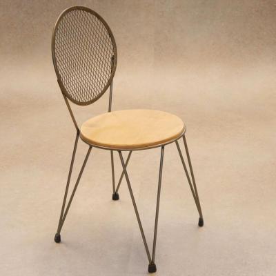 Silla mariona asiento madera estructura hierro natural barnizado