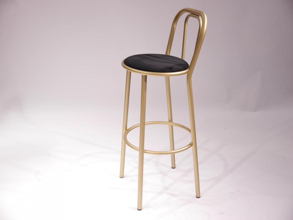 Taburete Cabaret H-78 estructura hierro en dorado con asiento tapizado en terciopelo negro