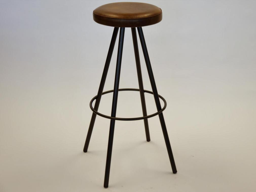 Taburete Ronin H-78 estructura manganeso asiento tapizado sintético vintage