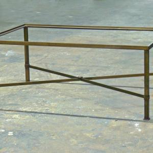 Mesa Danubio H-45 estructura de hierro acabado oro viejo de 120x70