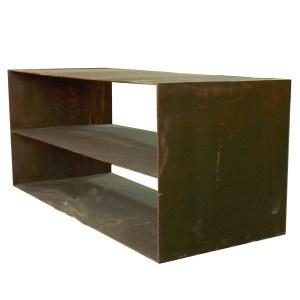 Mueble tv con estante en plancha de hierro a medida