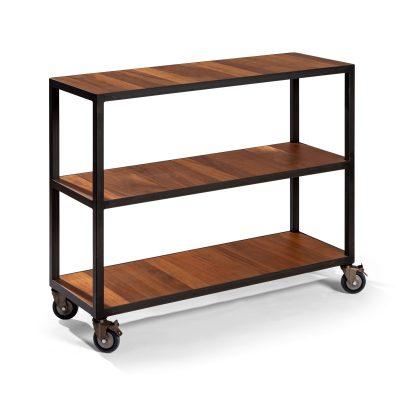 mueble con ruedas en hierro y estantes de iroco