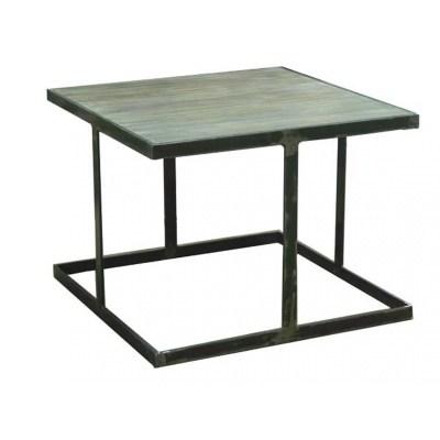 Mesa montras cuadrada con sobre envejecido grisaceo 60x60