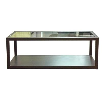 mesa cubo de centro con cristal y plancha de hierro