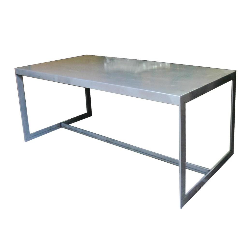 Mesa de comedor en hierro pulido Six de 200x100 cm
