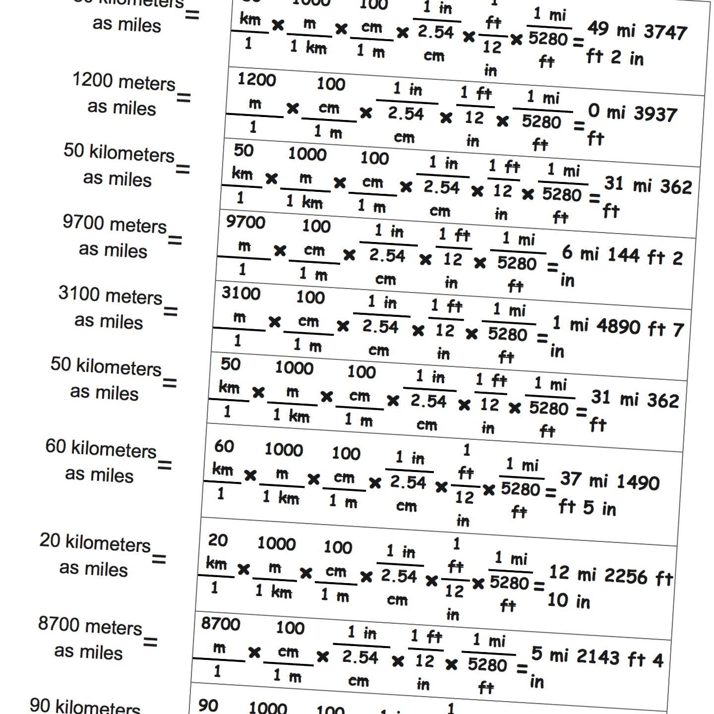Metric Math Worksheets