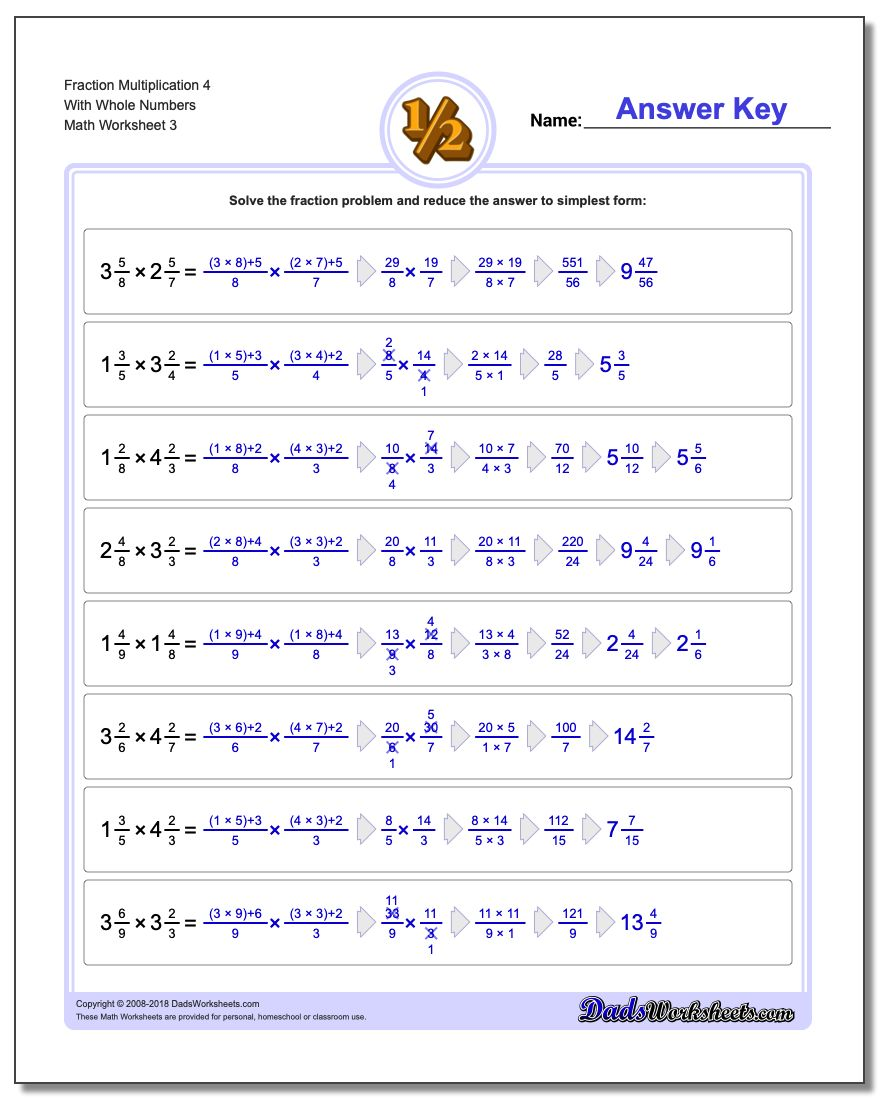 Fraction Multiplication With Wholes