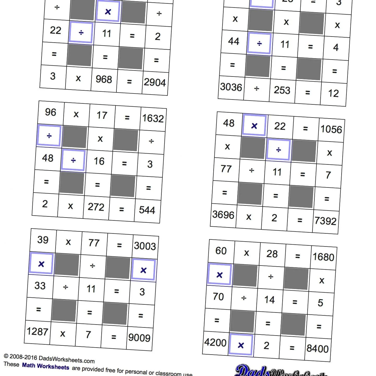 Math Worksheets Grid Puzzles Multiplication And Division