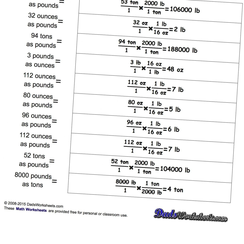 Metric Unit Conversion Mass Worksheet Answers