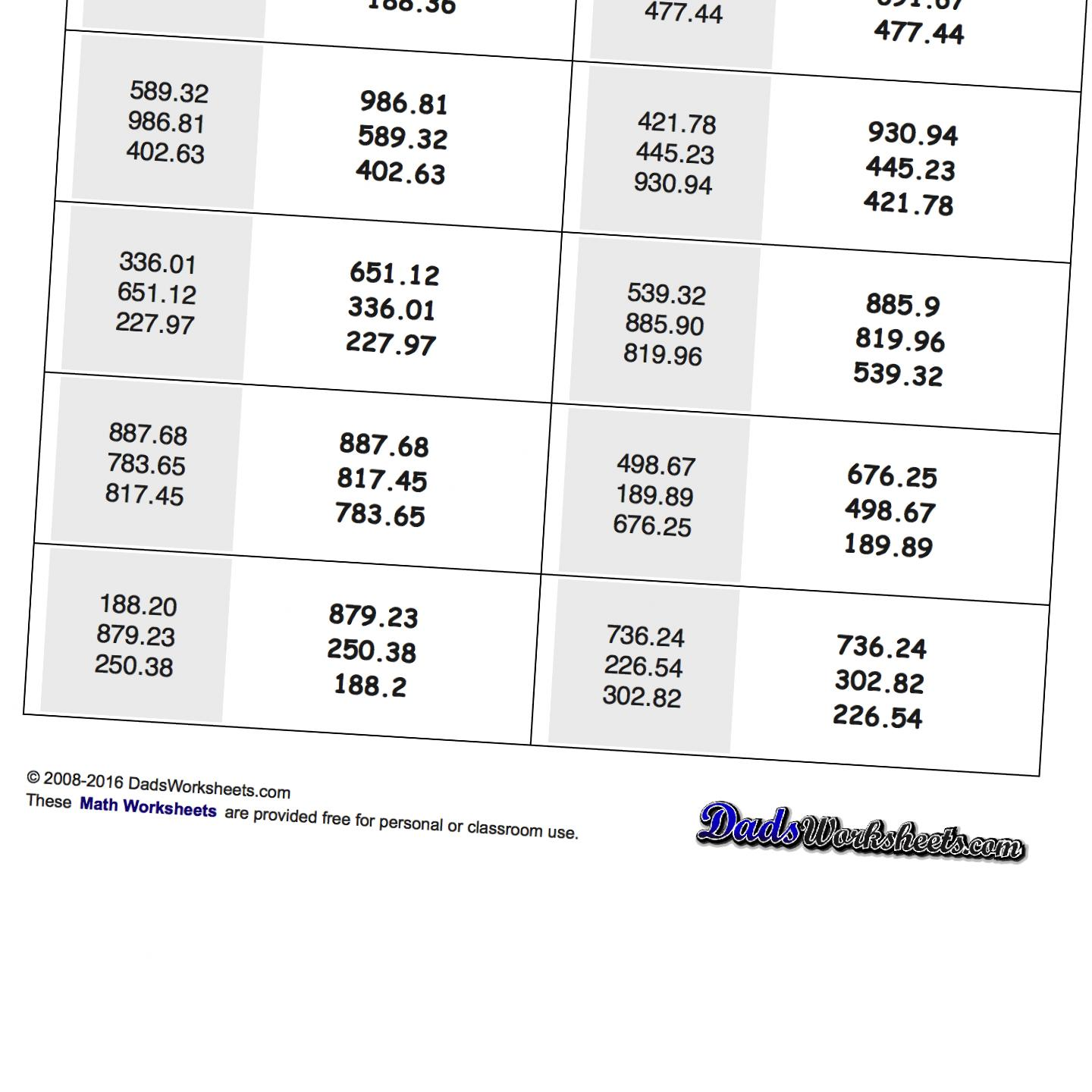 Facing Math Worksheet Decimals