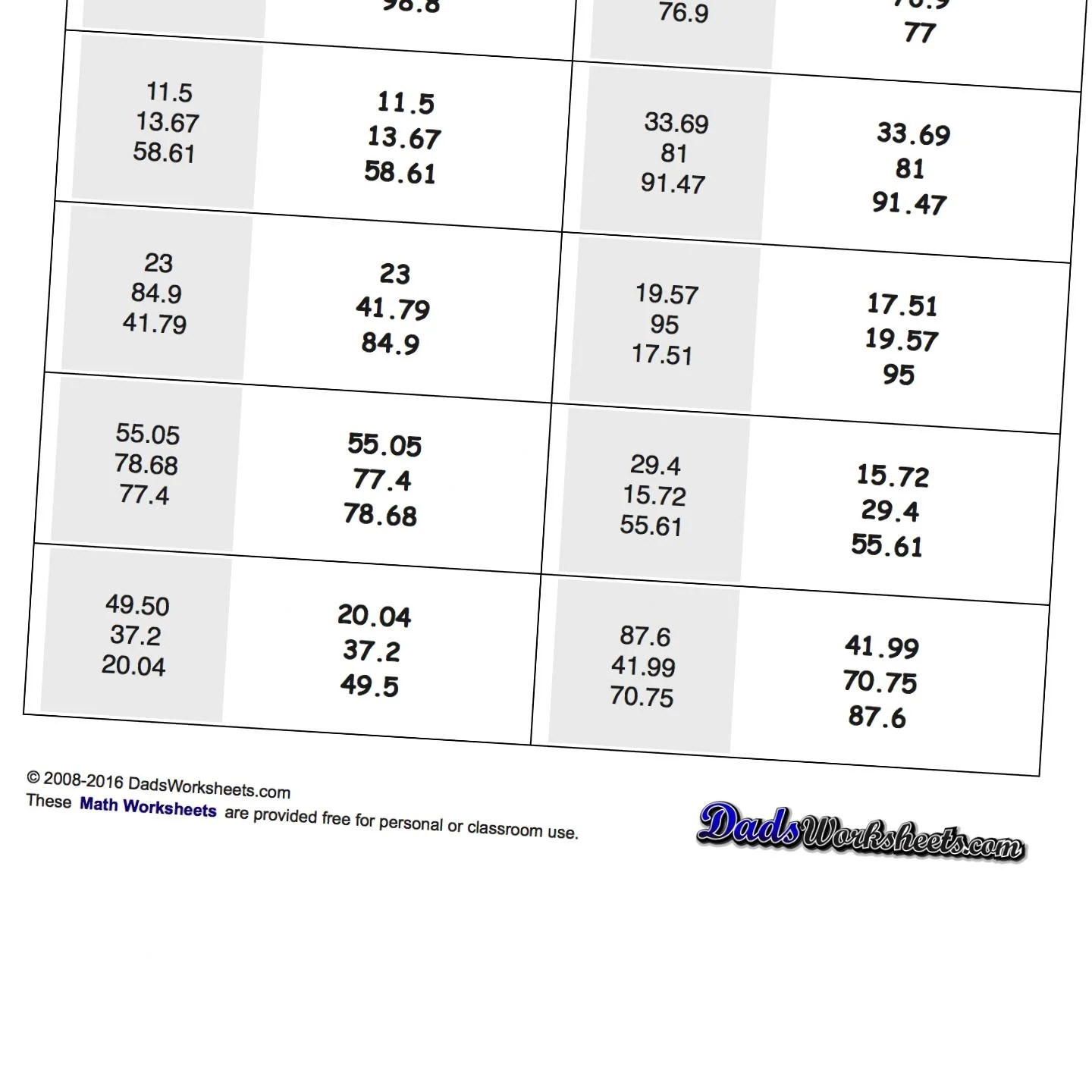 Ordering Decimals From Least To Greatest Worksheet
