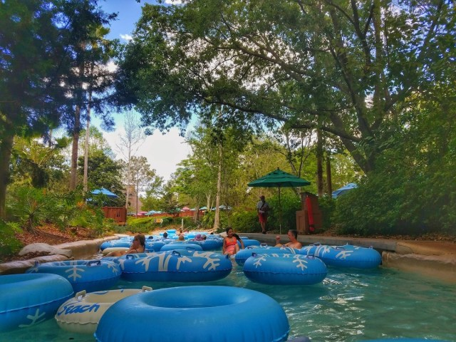 Full of tubes on the lazy river.