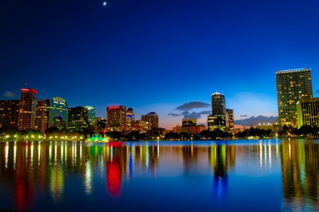 HDR Photography - Orlando Lake Eola Bright Blue Downtown Sunset