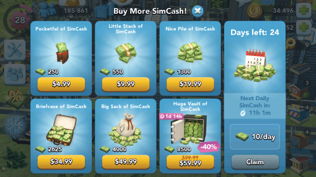 SimCity BuildIt In-Game Purchases