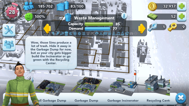 SimCity BuildIt Waste Management Buildings