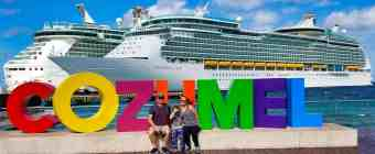 Royal Caribbean Cozumel Cruise - My Wife, Son and I at the Cozumel Sign
