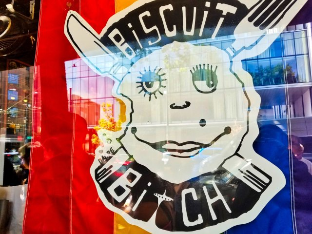 Biscuit Bitch Review - Window Sign