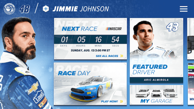 Awesome Home Screen in NASCAR Acceleration Nation App