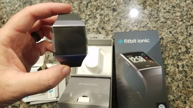 Fitbit Ionic Review - Unboxing Holding the Watch Up