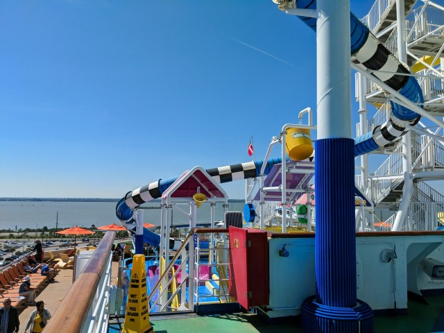 Back of the ship water slides on the Carnival Sunshine Ship