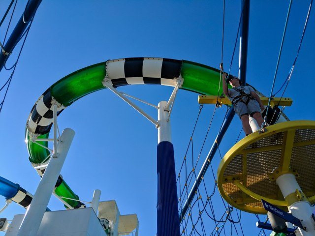 Looking up at SkyCourse and water slide on the Carnival Sunshine Ship