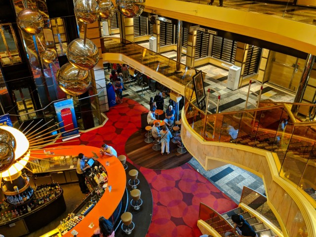 Looking down on the main deck bar on the Carnival Sunshine Ship - 2