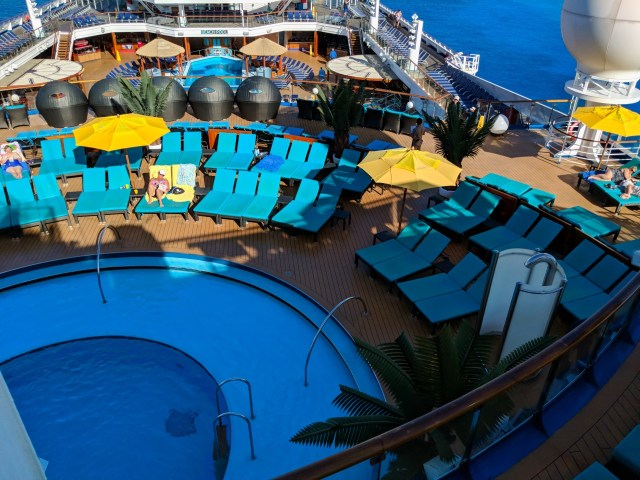 Serenity Deck pool looking down aboard the Carnival Sunshine Ship