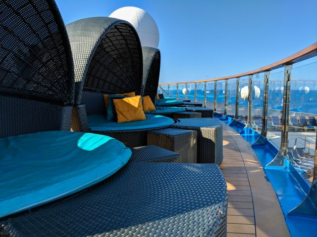 Serenity Deck covered loungers aboard the Carnival Sunshine Ship