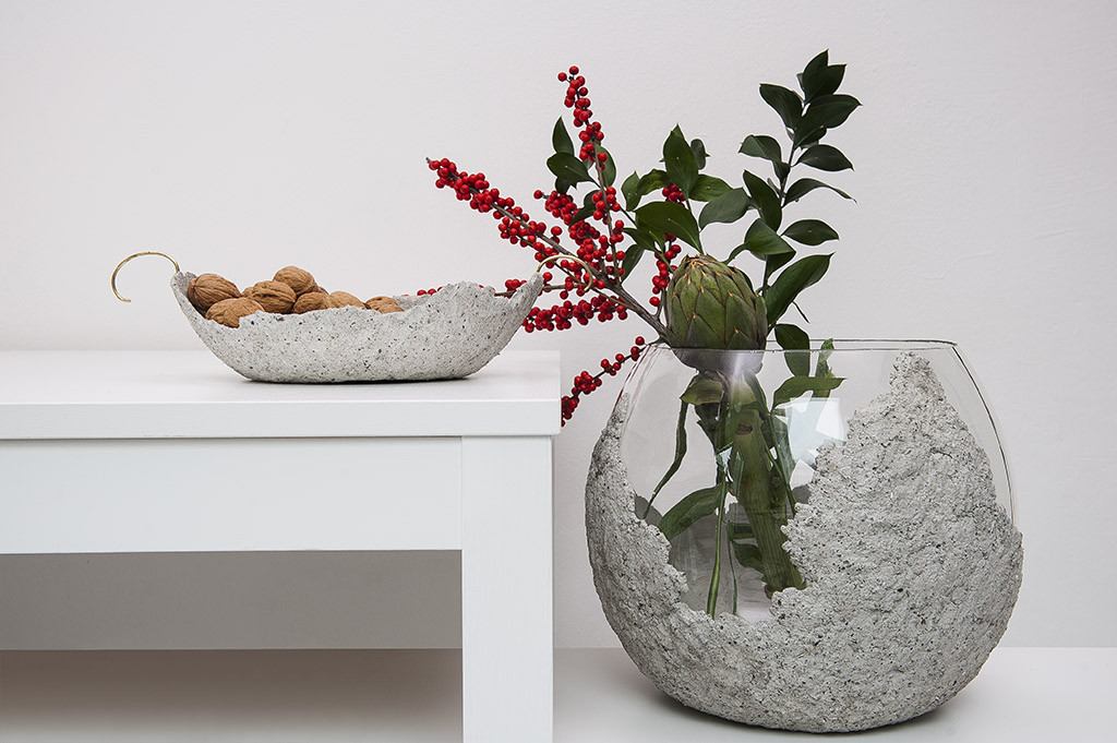 Narciso Concrete Vase With Brass Handle And The Other Half Bowl Concrete on Glass Vase Image