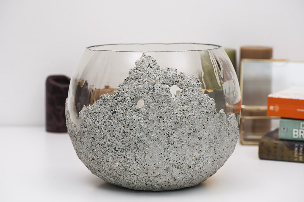 The Other Half BowlConcrete on Glass Vase Small Image