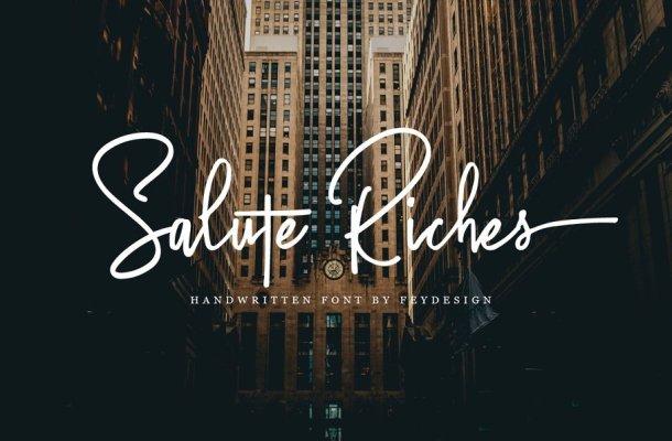 Salute Riches Handwritten Font Free