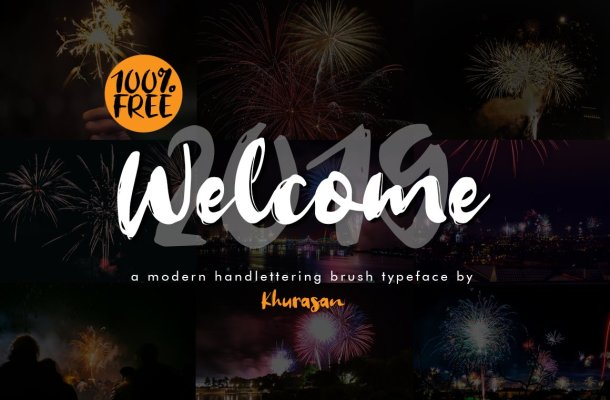 Welcome 2019 Brush Font Free