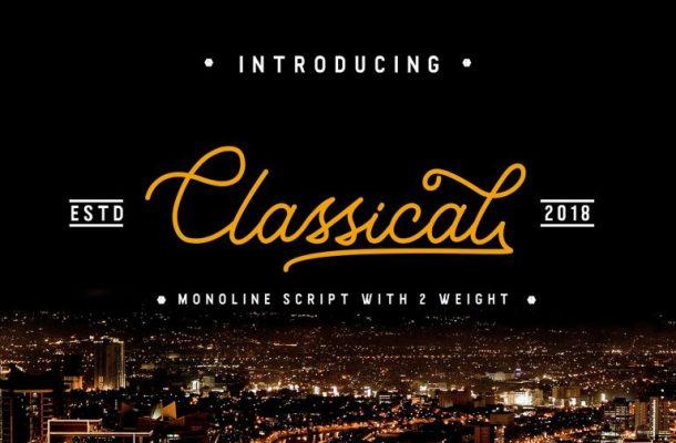 Classical Monoline Script Font Free