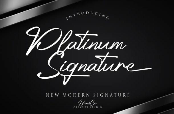Platinum Signature Script Font