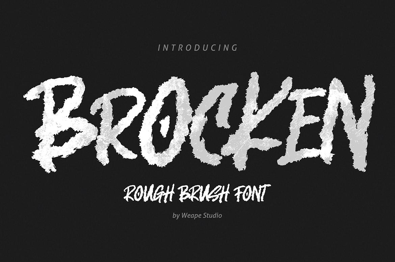 Brocken Caps Rough Script Font01