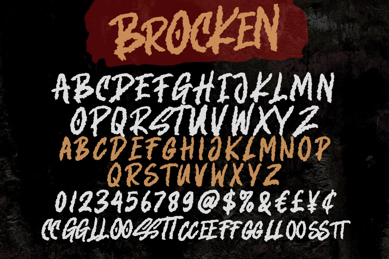 Brocken Caps Rough Script Font03