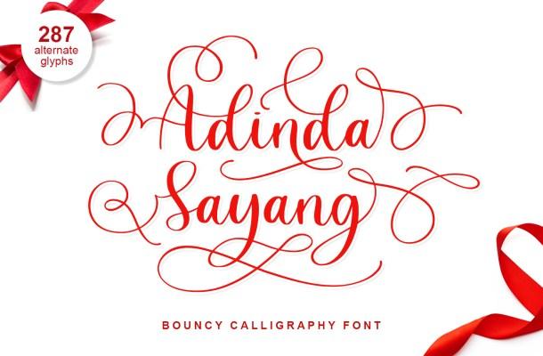 Adinda Sayang Calligraphy Script Font