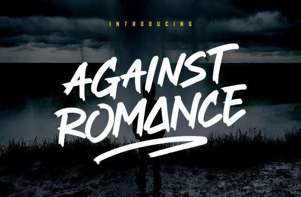 Against Romance Script Brush Font