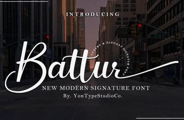 Battur Modern Signature Font