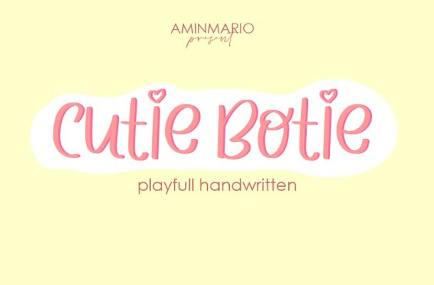 Cutie Botie Handwritten Script Font