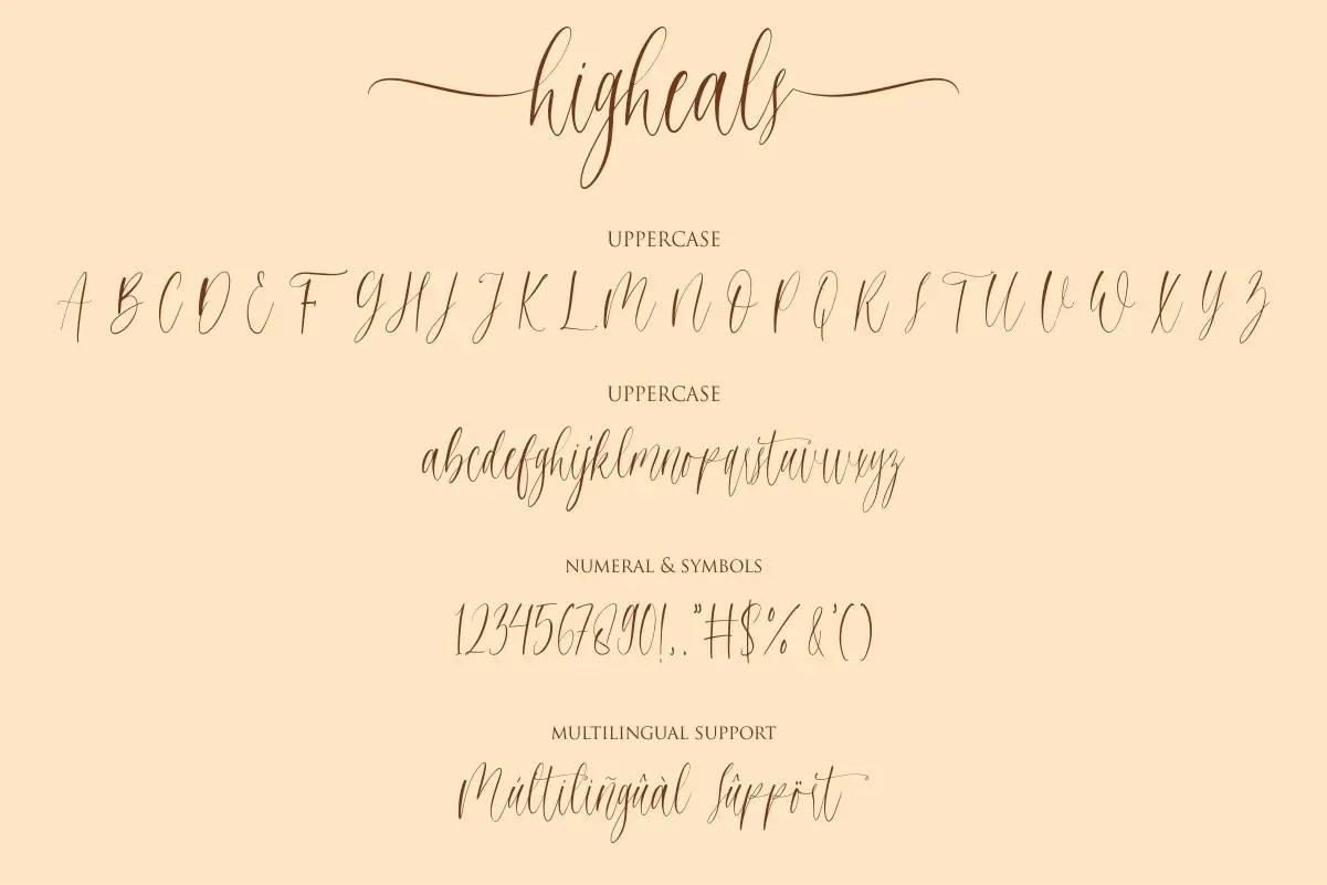 Higheals Calligraphy Script Font-3