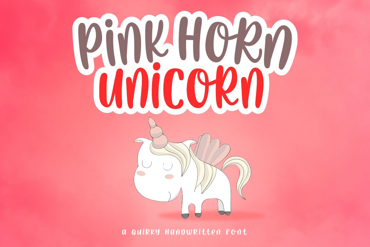Pink Horn Unicorn Fancy Font-1
