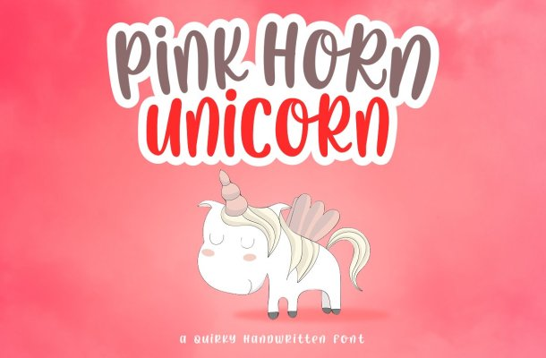 Pink Horn Unicorn Fancy Font