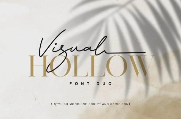 Visual Hollow Serif Font Duo