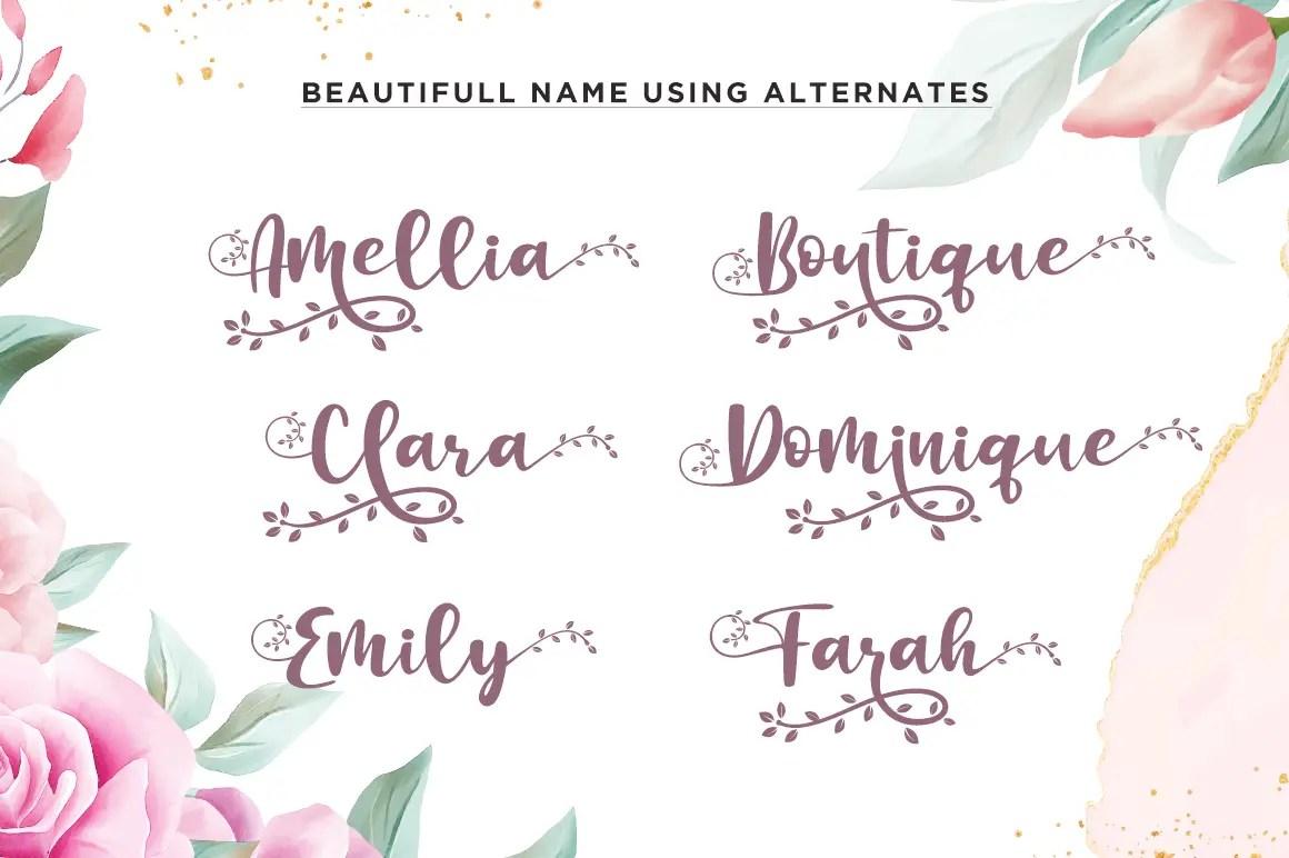 Botanical Flourish Script Calligraphy Font-2