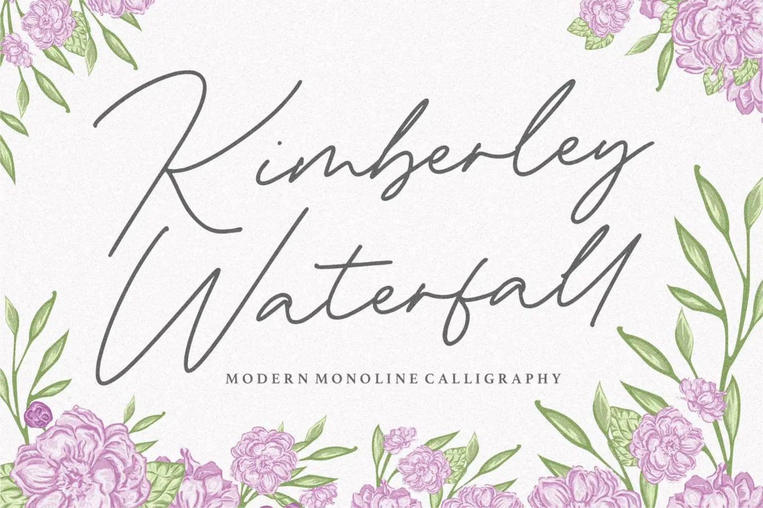 Kimberley Waterfall Modern Monoline Handwritten Font-1