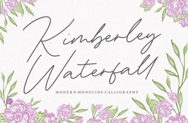 Kimberley Waterfall Modern Monoline Handwritten Font