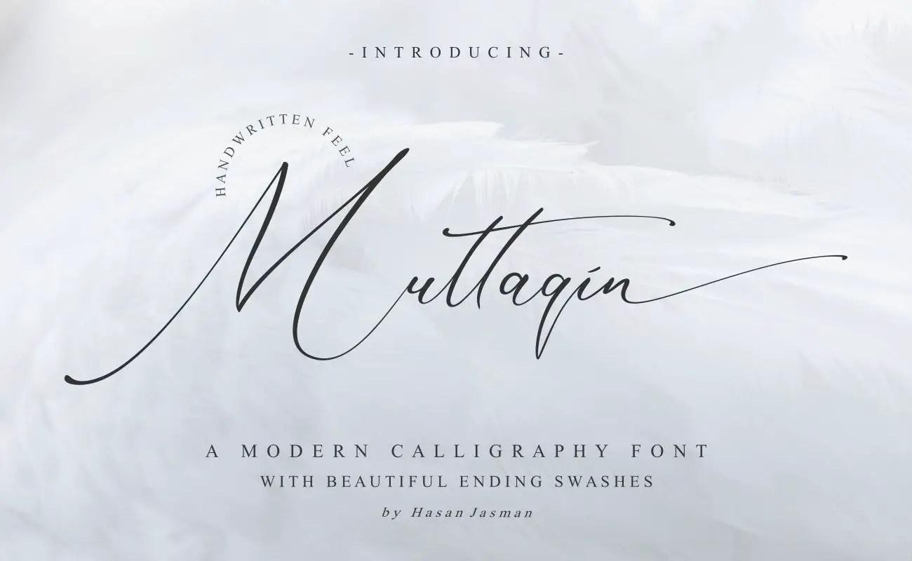 Muttaqin Modern Script Calligraphy Font-1