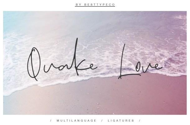 Quake Love Handwritten Script Font