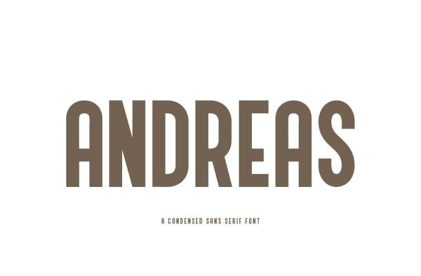 Andreas Condensed Sans Serif Font